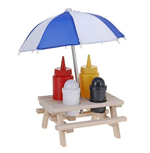 Gewürzständer Picknicktisch - Menage Set - Ketchup Senf Pfeffer Salz Ständer