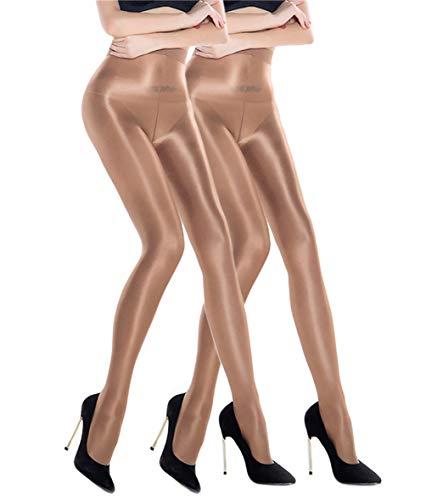 RICHTOER 2 pares de calcetines moldeadores al óleo, medias de seda brillante
