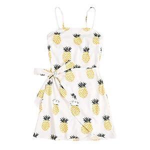 Verdusa Women's Summer Spaghetti Strap Tie Knot Ruffle Wrap Cami Dress