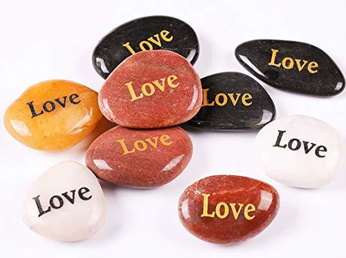 RockImpact 24 Stück Love Steine mit Spruch Glück Gravierte Steine Gravur Inspirierende Steine Glücksbringer Ermutigung Dankbarkeit Geschenk Glückssteine (Großhandel, je 5-8 cm)