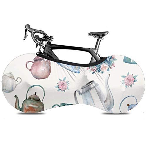 HJHJJ Fahrrad Radabdeckung Muster Vintage Kessel Teekannen Blumensträuße Anti-Staub-Fahrrad Indoor Aufbewahrungstasche Kratzfeste, waschbare hochelastische Reifen Paket Ro