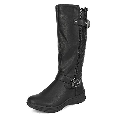 DREAM PAIRS Women's Black Knee High Boots Tall Faux Fur Lined Retro Winter Fashion Rading Boots for Women Urva 10M US