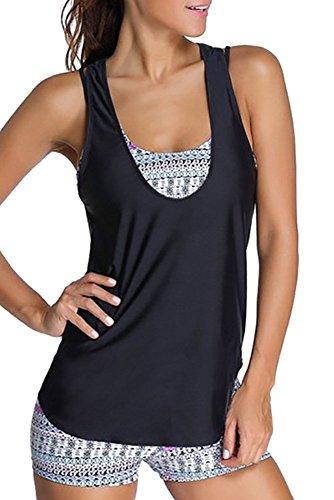 XFentech Femme Maillot de Bain Enceinte - Grande Taille Tankini à Imprimé Motifs Fantaisie Géométriques avec Shorts, Style-3, EU 5XL=Tag 6XL