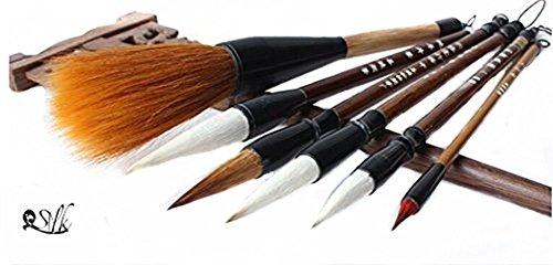 2500 Silk Art China Hu Writing Brush Chinese Calligraphy Kanji Japanese Sumi Drawing Brushes 6 piece/set (weasel hair 1pcs ,wool hair 1 pcs,weasel70%/wool30% L M S SS 4pcs)MBT6