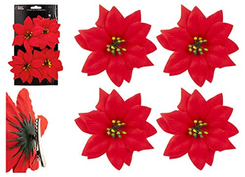Snow White 4 Pack 10cm Clip On Red Poinsettia Christmas Tree Decoration