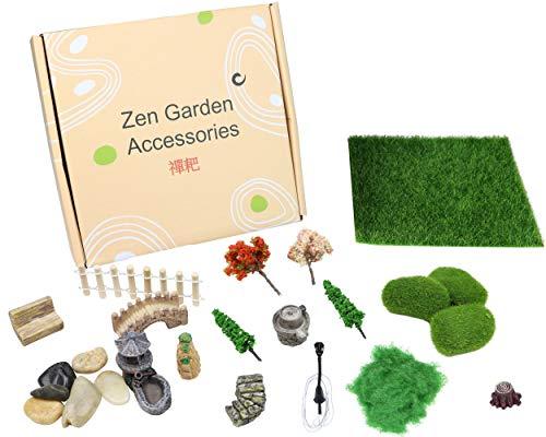 Mini Zen Garten Accessoires, Feengarten Deko Zubehör, Miniatur Garten Dekoration, Künstliche Garten Gras Miniatur, Geschenk für Mädchen, Jungen und Erwachsene, Terrarium Zubehör