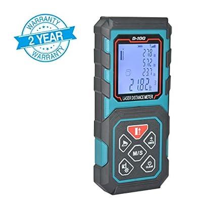 MAKINGTEC Laser Measure 131Ft Laser Distance Measure with 5 Measurement Modes, Pythagorean Mode and LCD Backlight Display, Volume and Area Measurement, Digital Laser Tape Measure D40 Color Blue …