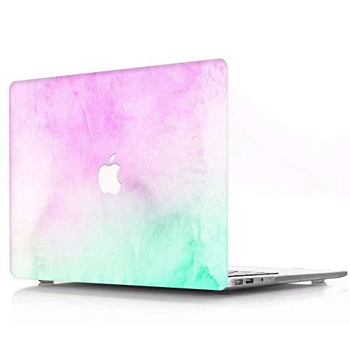 AJYX Funda para Macbook Pro Retina 15 Pulgadas Modelo A1398, Carcasa Protectora de Plástico Duro para MacBook Pro 15.4' con Pantalla Retina,R518 Niebla Verde Púrpura