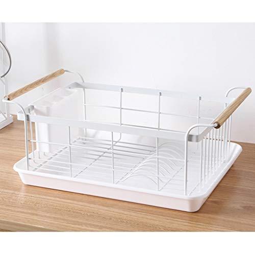 Rack de drenaje grande, plato de cocina, estante de almacenamiento de platos, con bandeja de goteo y colector de cubiertos, bastidor de vajilla funcional, canasta de drenaje de armario, 48 x 28x 18cm