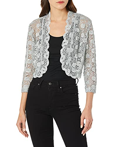 R&M Richards Women's 1 Piece Laced Jacket Shrug with Sequins in Missy in Silver, Large