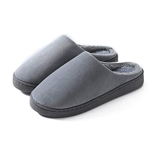 QPPQ Zapatillas de algodón de interior, zapatillas de pareja de hogar, zapatillas antideslizantes de algodón de suela gruesa-Gray_7.5-8.5, zapatillas antideslizantes de invierno