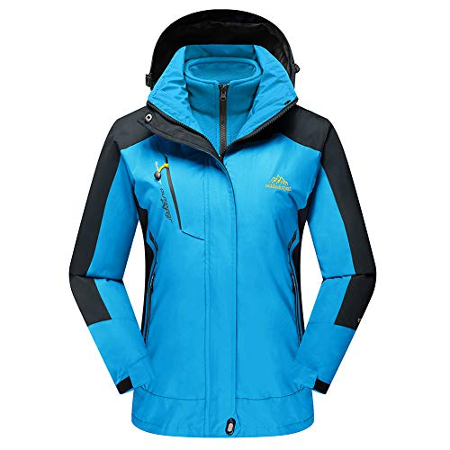 TACVASEN Winter Jacket Women Ski Water Repellent Windproof Jacket Fleece Inner Raincoat Blue,US M