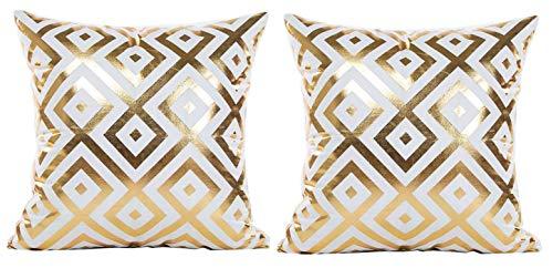 KIRALOVE Dwie poszewki na poduszki poduszka na sofę 40 x 40 cm - romby - dekoracyjna kwadratowa poduszka - biały kolor - len - sypialnia - dom fantasy - złoty nadruk - oryginalny pomysł na prezent - doskonała jakość