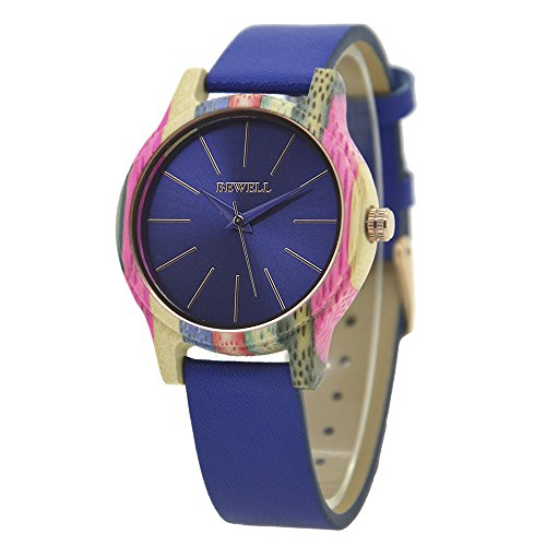 Reloj de madera de las mujeres, el movimiento de cuarzo colorido de madera hecha a mano relojes pulsera desmontable reloj de pulsera (Azul marino)