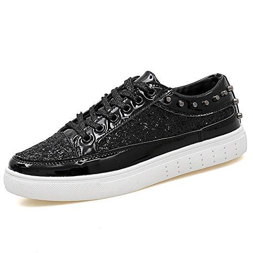 Cffdoi Sapatos de ginástica masculinos modernos sapatos esportivos com cadarço estilo espelho de couro PU respirável degrau decoração Revit (cor: preto, tamanho: 40)