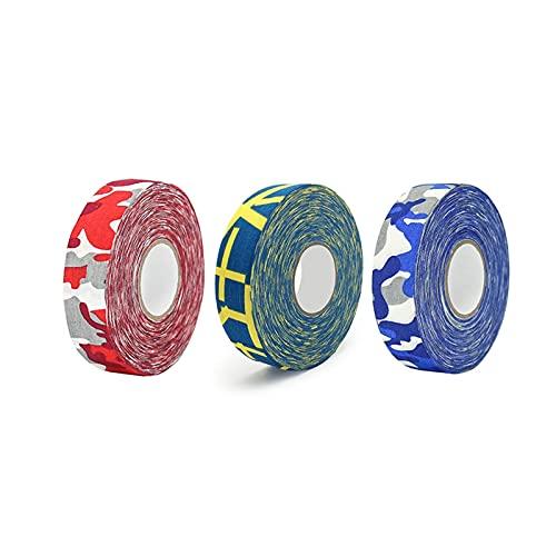 Cinta de hockey 3 piezas de cinta de patrón de camuflaje, cinta de hockey colorida, habilidades antideslizantes de alta viscosidad, cinta de hockey de patrón de bandera Hockey sobre hielo