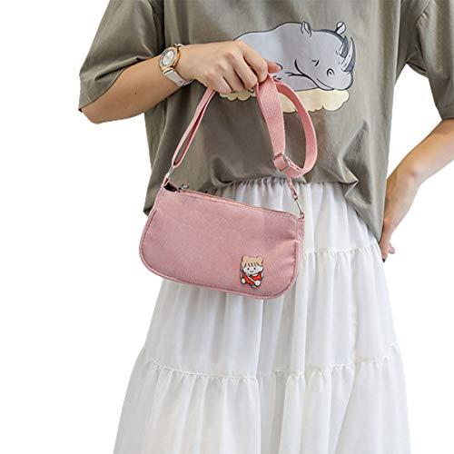 Fancysweety Bolso para Las Axilas Moda Ins Color Caramelo Cadena de Pana Bandolera de Hombro Bolso Cuadrado Bolso Casual portátil para Mujer