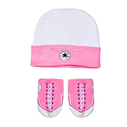 Converse Baby-Mädchen Hat and Bootie Bekleidungsset, Mehrfarbig (Chuck Pink), 0/6 Monate (Herstellergröße: 0-6M)