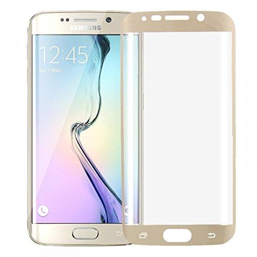 Wigento Hybrid TPU Gebogene Panzerfolie Gold Folie für Samsung Galaxy S6 Edge G925 F Neu Vollschutz um die Ecken