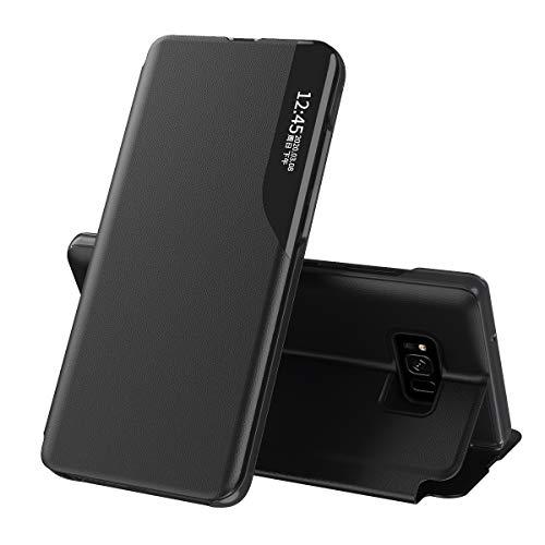 Celular Capa Samsung Galaxy S8 Case Função de Sono Inteligente(Exibidas hora e data) Função de Suporte para flip e Absorção Magnética Case Ultrafina Couro Protetora Cover:Preto