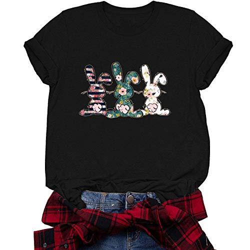 BUKINIE 2021 Damen Sommer-Tops, Rundhalsausschnitt, kurzärmeliges T-Shirt, Osterhase, bedruckt, T-Shirt, lockere Passform, Pullover für Mädchen und Damen, Übergröße Gr. Large, Schwarz