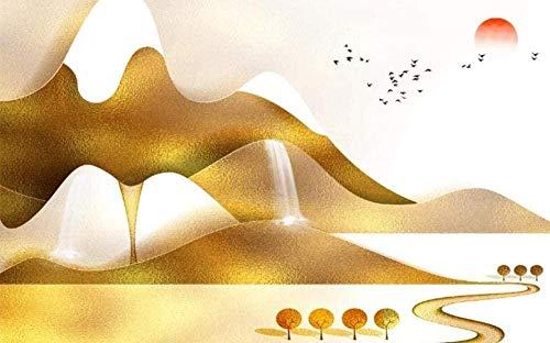Papel de pared de estilo chino con paisaje de hoja de oro dorado abstracto, papel tapiz no tejido, mural con Pared Pintado Papel tapiz 3D Decoración dormitorio Fotomural sala sofá mural-430cm×300cm