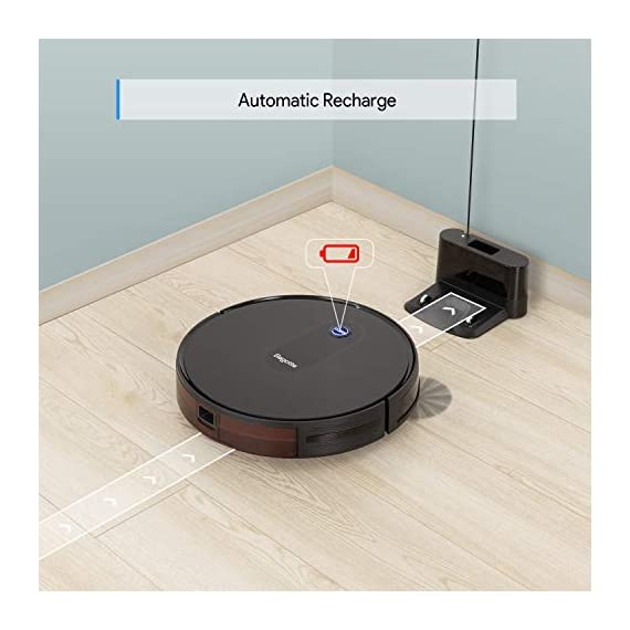 "Robot Vacuum, Max Suction Robotic Vacuums Cleaner, 2.7"" Bagotte Robot Vacuum Cleaner Super Thin & Quiet, Large Dust Bin, Self-Charging, Ideal for Pet Hair, Carpet, Hardwood Floors 5 Strong Cleaning→Large Dust Bin: Bagotte 1500 PA robot vacuum cleaner can easily pick up pet hair, large particles on the floor and can even drag trapped dirt from deep inside low-pile carpets. At the same time, the large-capacity Dustbox (0.6L) can hold a lot of garbage, reducing the number of cleanings. High Capacity Battery→Self-Charging: Equipped with 2600mAh li-ion batteries, the robotic vacuums will continuous to clean your house after being fully charged. Especially, when the robot vacuums are at low power, they will automatically return to the charging station for charging. 4 Cleaning Modes→More Choices: 4 different cleaning modes including AUTO / SCHEDULING / SPOT / EDGE, SINGLE ROOM & MAX CLEANING. Bagotte robotic vacuums has a unique Schedule Cleaning mode.You can set any time you want to clean, It will be your excellent helper."