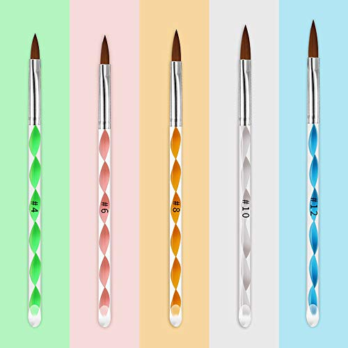 Pinceles para Unas, KANOSON Set de 5 Piezas pincel acrilico uñas, Esmalte Uñas pincel Nail Art Brush para Decoración de Uñas