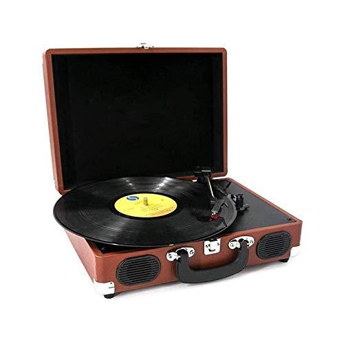 HMBB Reproductor de Vinilo Reproductor Vintage Fonógrafo Retro Turntable Disc Reproductor de grabación portátil Bluetooth LP