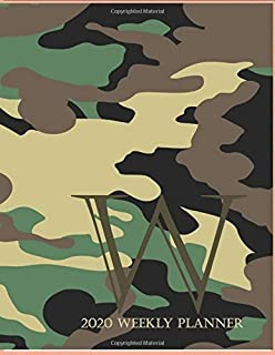 """2020 Weekly Planner W: This camouflage multi-Color Monogrammed """"W"""", 8.5"""" x 11"""" one page monthly, two page weekly with holi..."""