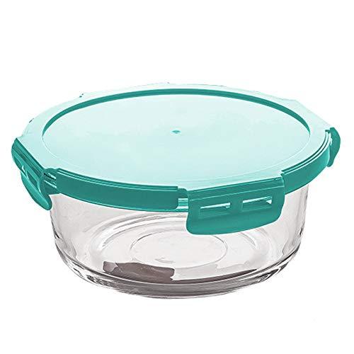 Contenedor de vidrio para preparación de comida, se puede colocar en el refrigerador en el almacenamiento de la caja de vidrio de alimentos, caja de vidrio. Altura: 7,5 cm, diámetro: 18,2 cm. verde.