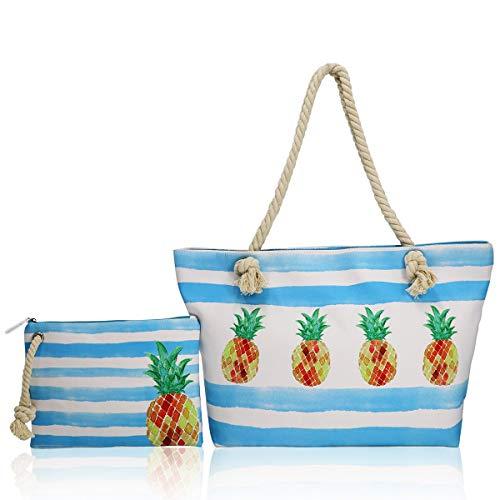 FARI Große Strandtasche Damen, Reisetaschen Canvas Schultertasche Shopper mit Reißverschluss (Ananas)