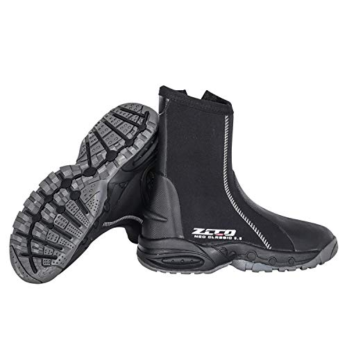 ZCCO1 5mm Diving Boots Neoprene Boots with Anti-Slip Rubber Sole, Scuba Snorkeling Boots for Water Sports Snorkeling, Scuba Diving, Canyoning with Carry Bag (Black, 8)