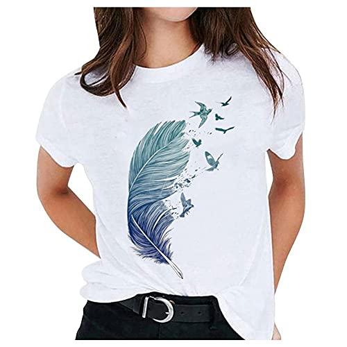 Damen Feder Drucken T-Shirt Rundhals Kurzarm Oberteile Hemd Casual Tops Bluse Sommer Oberteile Oben Hemd Grafik Oberteile Female Teenager Mädchen Tee Tops (B, M)