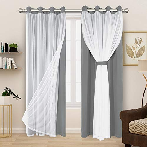 BONZER White Sheer Tulle Overlay Blackout Curtains Grommet Top Mix and Match Curtains for Living Room, Cloud Grey, 52x84 Inch, Set of 2 Panels