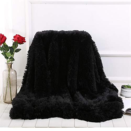 Dreamaker - Manta de piel sintética suave y larga con manta esponjosa para cama/sofá (160 x 200 cm), piel sintética, negro, talla única