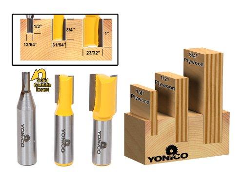 Yonico 143233madera contrachapada Dado Router Bits para 3/4-inch 1/2-inch y 1/4-inch madera contrachapada de 1/2-inch vástago
