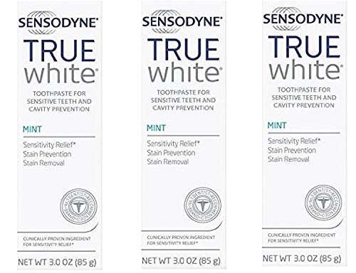 Sensodyne True White Fluoride Toothpaste for Sensitive Teeth, Mint, 3.0 oz (Pack of 3)