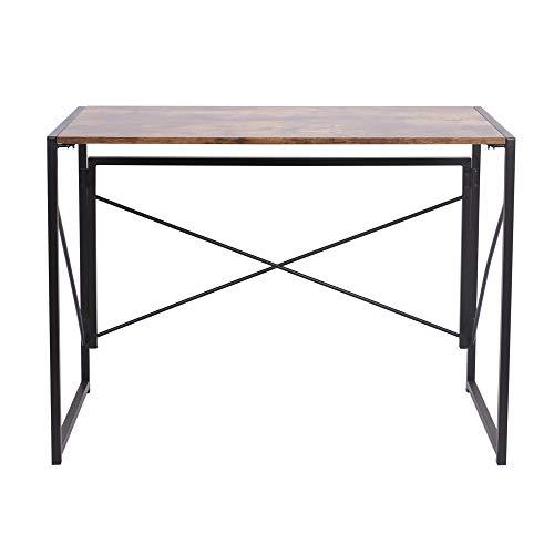 BLADO Escritorio compacto y plegable para ordenador, para casa, oficina, portátil, mesa de escritorio, simple y pequeño, para ordenador, portátil, mesa de estudio, color marrón