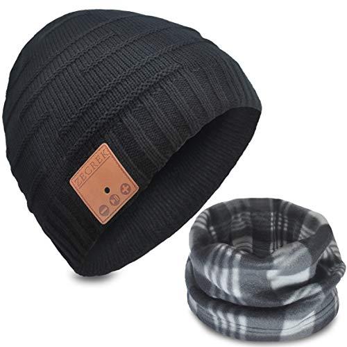 ZecRek Gorro inalámbrico Bluetooth con auriculares para unisex-adulto Negro