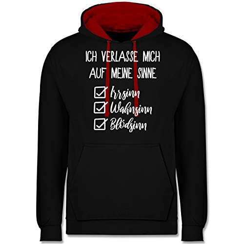 Shirtracer Statement - Ich verlasse Mich auf Meine Sinne Checkliste - XS - Schwarz/Rot - Anime sprüche - JH003 - Hoodie zweifarbig und Kapuzenpullover für Herren und Damen