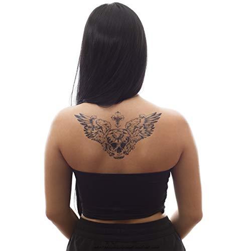1 x Totenkopf XL Tattoo - mit Flügeln, Kreuz und Schrift - Schwarzes Body Temporary Tattoo mit roten Rosen - BC206 (1)