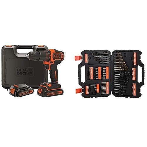 BLACK+DECKER BDCHD18KB-QW - Taladro percutor 18V, 40 Nm, con 2 baterías litio 18V (1.5Ah) y maletín & A7200-XJ - Juego de 109 piezas para atornillar y taladrar con brocas'Titanio'