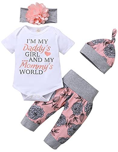 Ropa Bebe Niña 0-18 Meses Recién Nacido Niña Peleles Monos de Manga Corta + Floral Pantalones + Venda de Pelo Conjunto de Ropa