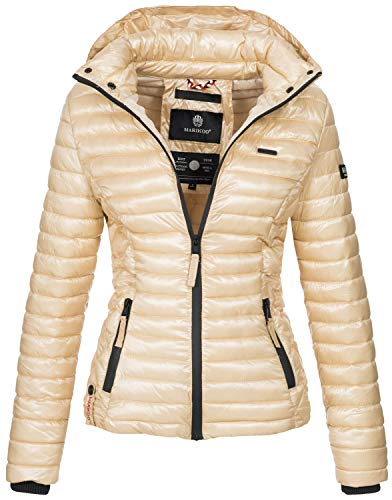 Marikoo Damen Jacke Steppjacke Übergangsjacke mit Kapuze gesteppt B600 [B600-Samt-Gold-Gr.XS]
