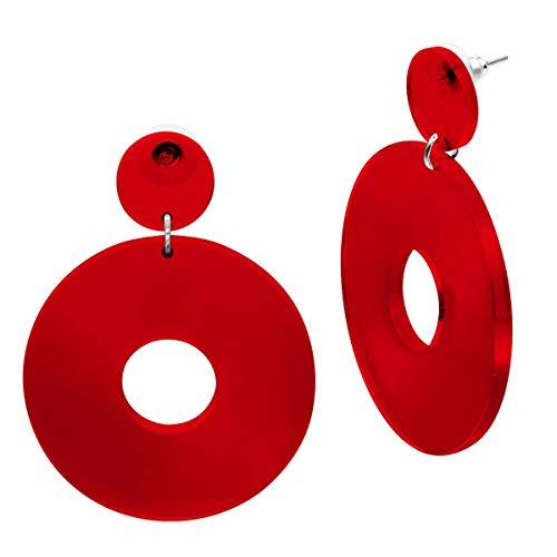 SoulCats® 1 Paar Statement Ohrhänger Creolen im Retro Style der 80er Jahre für Damen in rot-transparent