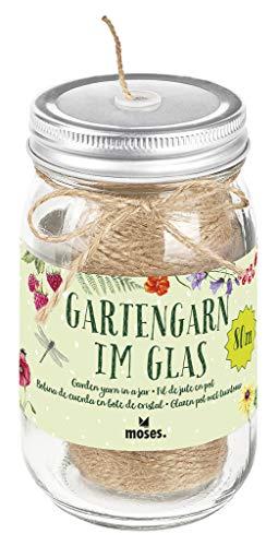 moses Blatt und Blüte Gartengarn im Glas | 80 m Garn aus Jute | Für Garten Balkon & Terrasse, Natur