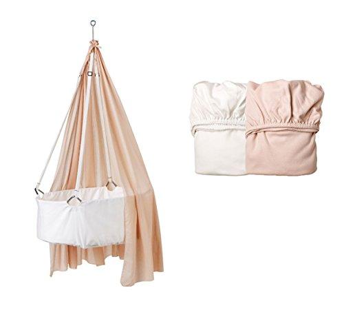 Leander Berceau Blanc avec matelas TRÄUMELAND, crochets de plafond, ciel (voile) Soft Pink, original Lot de 2 draps housse Soft Rose/blanc