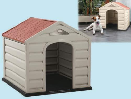 Happy House Cuccia per Cani in Resina PLASTICA Puppy Taglia Media Medium 61X68X58 CM Beige con Tetto Rosso