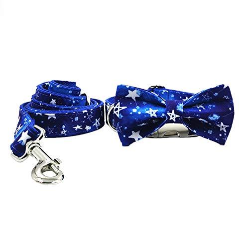 Wulivon Collar para perro ajustable, diseño de gypsophia, color azul, XS